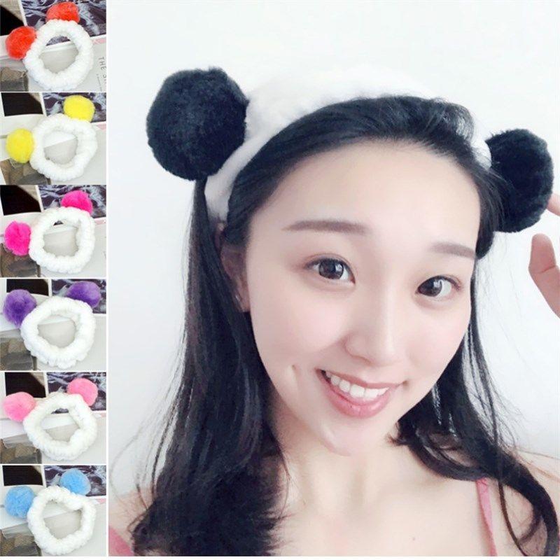 Cute Panda Ear Women Headband Turban Girl Elastic Makeup Shower Hairband Head Wrap Korean Fashion Washing Face Shower Hair Bands Women's Hair Accessories