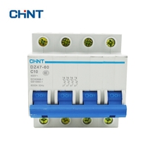 CHINT Circuit Breaker 4P 10A 230/440V~ DZ47-60 C10 Household Lighting Plastic Air Switch