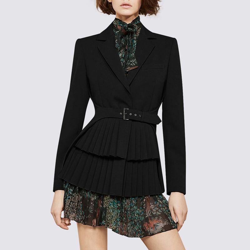 LANMREM 2019 New Fashion Women Clothes Notched Collar Full Sleeve Sashes High Waist Adjust Pleated Bottom