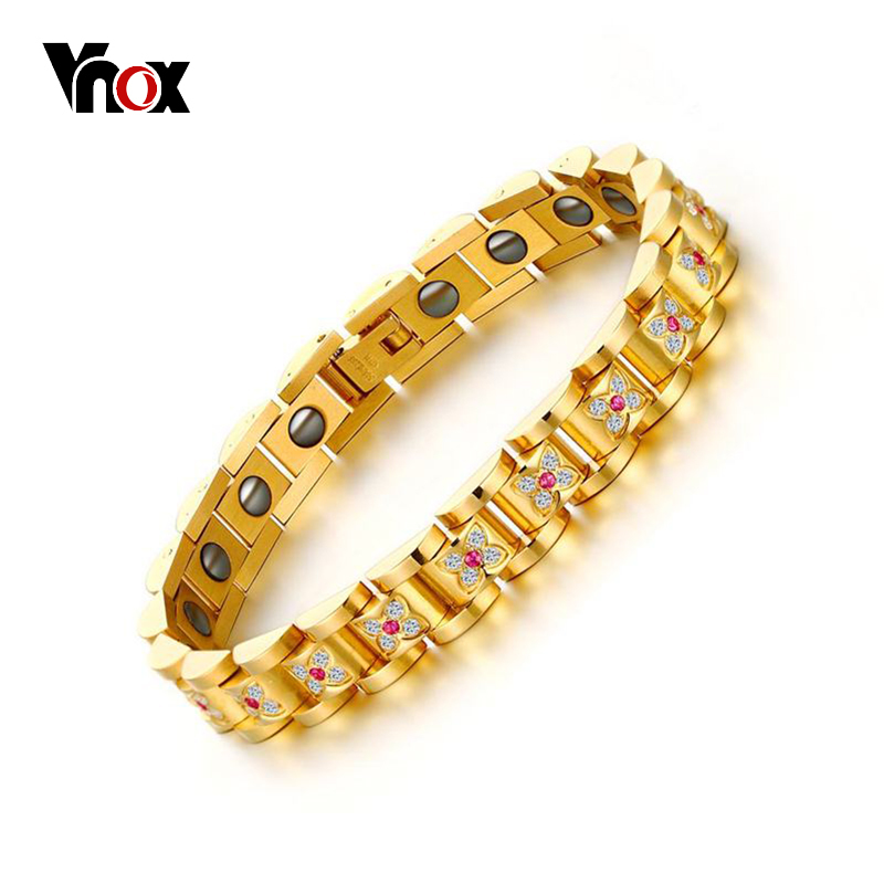 VNOX Luxury Women Health Bracelet Bangle CZ Stones Folower Shape Magnetic Power Bracelets Chain JewelryVNOX Luxury Women Health Bracelet Bangle CZ Stones Folower Shape Magnetic Power Bracelets Chain Jewelry
