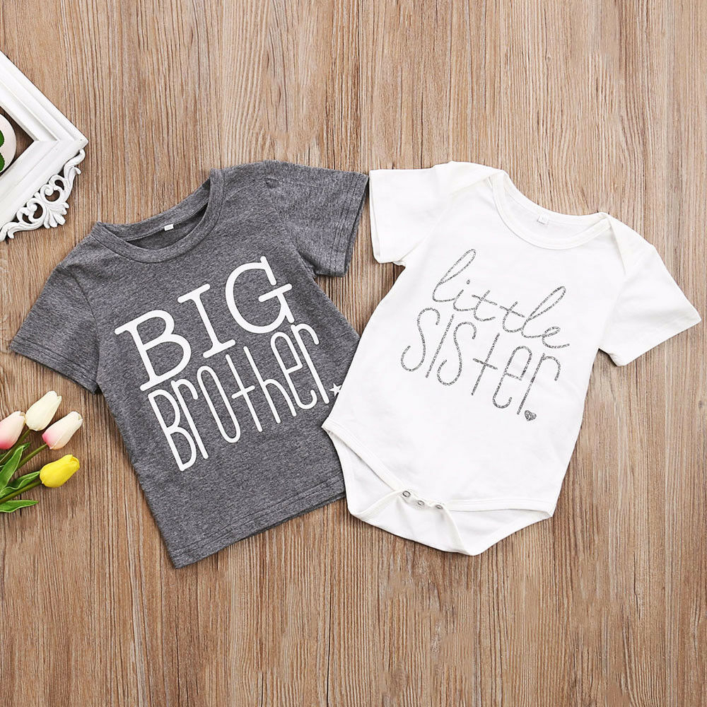 UK Newborn Kids Baby Little Brother Big Sister Romper T-shirt Outfit htrew