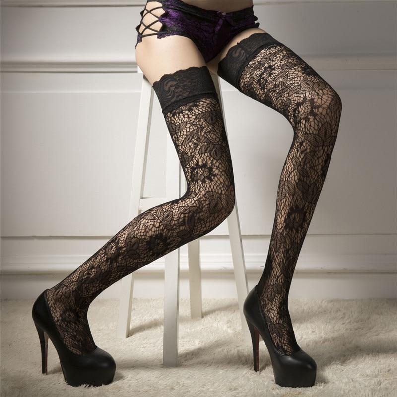 2019 kadın çorap moda seksi iç çamaşırı kadın bayanlar şeffaf dantel Fishnet uyluk yüksek çorap Medias de mujer