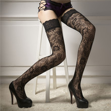 2019 Women's Stockings Fashion Sexy Lingerie Woman Ladies Sheer Lace Fishnet Thigh High Stockings Medias de mujer