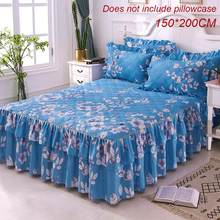 150x200cm Blue Queen Bed Cover Warm Thicken Sanding Quilted Single And Double Bed Skirt Wrap Around Non-Slip Bed Cover Pillowcas(China)