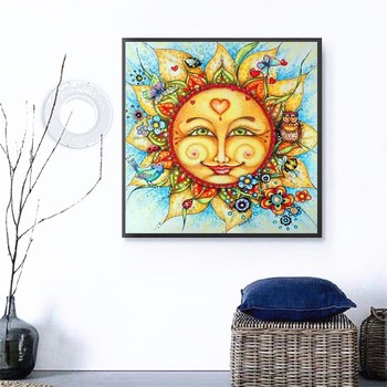 HUACAN 5d Diamond Painting Full Square Round Sun Cartoon Diamond Embroidery Sale Pictures With Rhinestones