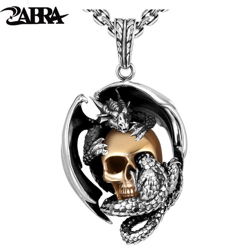 ZABRA 925 Silver Dragon with Gold Color Skull Men Pendant Necklace Vintage Punk Rock Biker Men