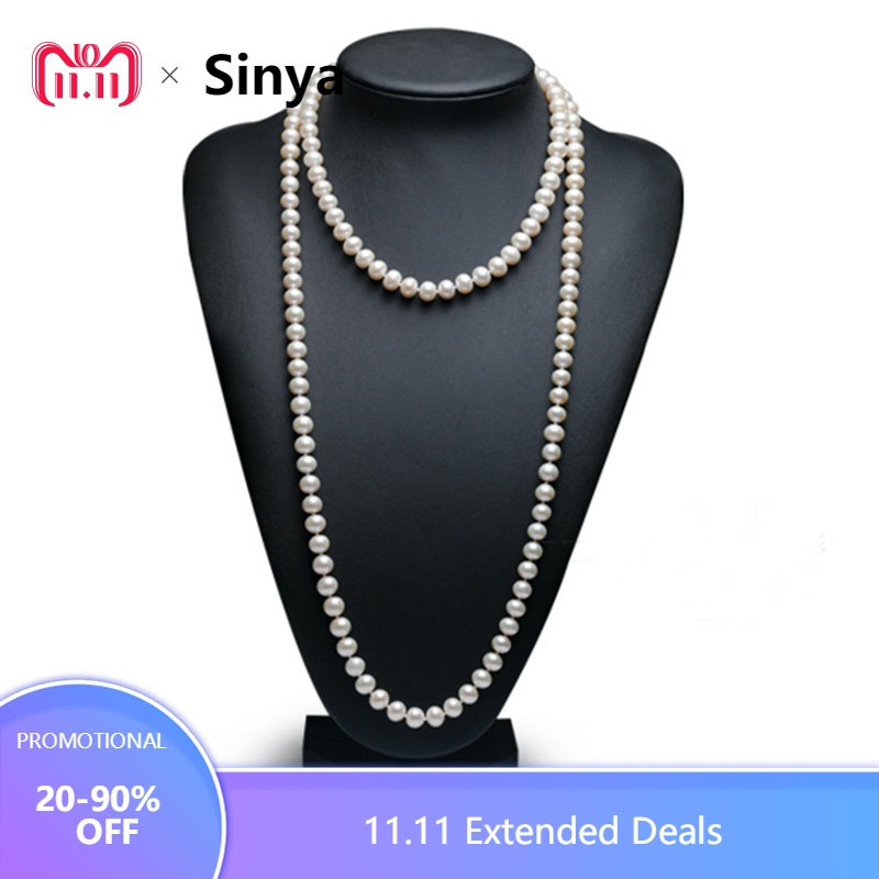 Sinya Classical pearls strands long necklace 7-8mm round pearls beads sweater chain for women Mom girls suit four seasons wear free shipping imitation pearls chain flatback resin material half pearls chain many styles to choose one roll per lot