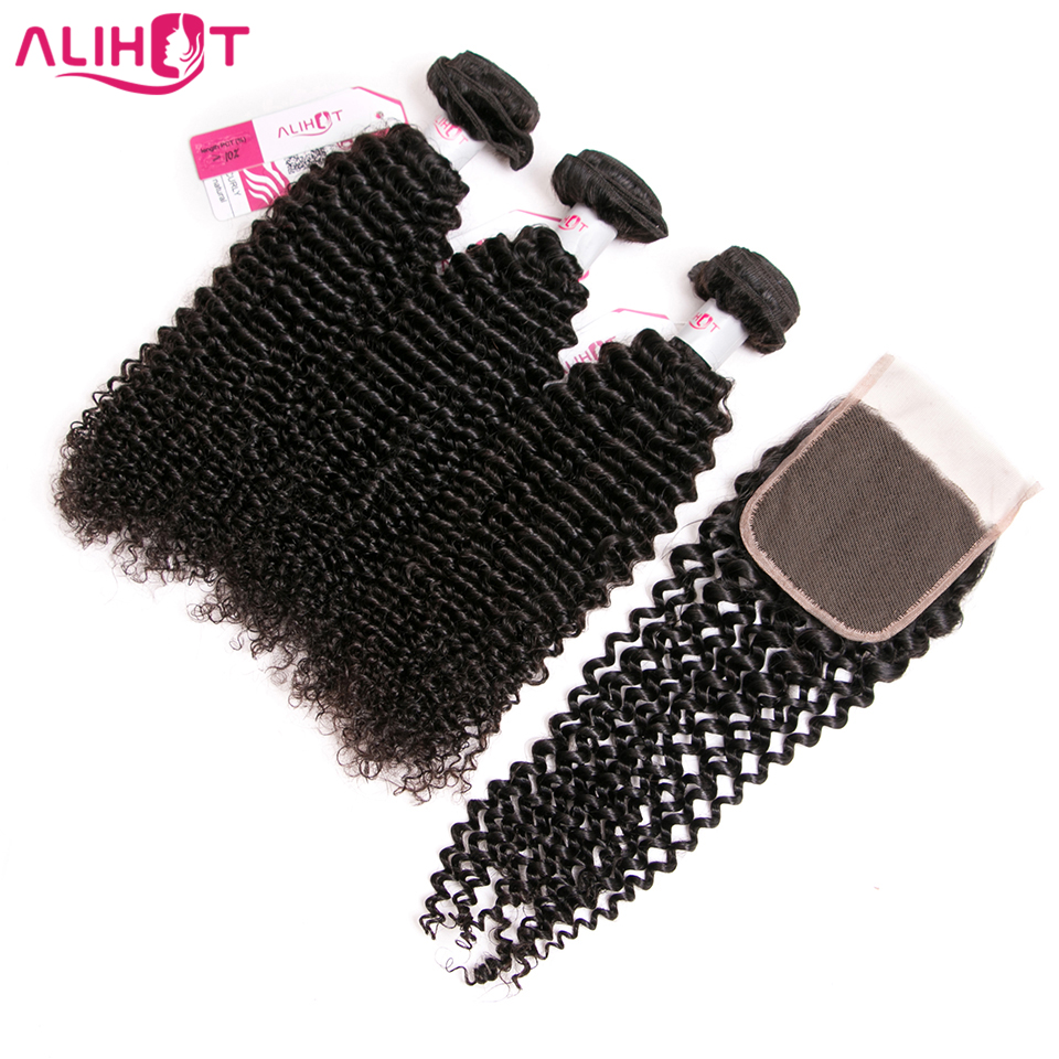 Ali Hot Hair Kinky Curly Weave Human Hair Bundles With Lace Closure Non Remy Brazilian Hair
