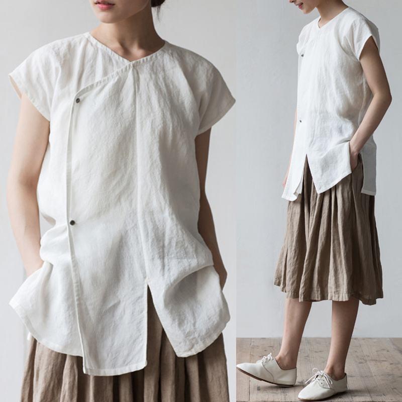 Celmia Women Retro Linen   Blouses   Short Sleeve Hem Split Summer Tops Buttons Solid Loose   Shirt   Casual Blusas Feminina Plus Size
