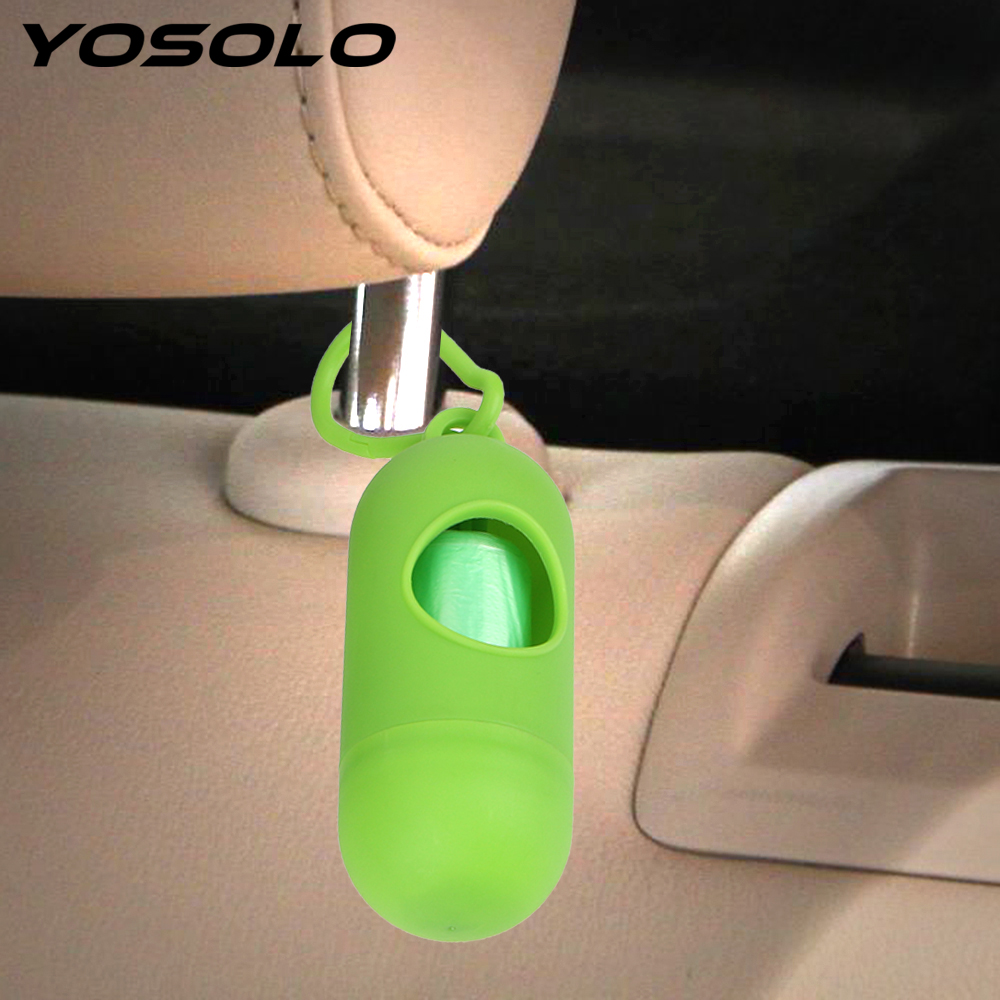 YOSOLO 15 Pieces/Roll Car Garbage Bag With Storage Box Auto Seat Back Hanging Trash Can Waterproof Waste Bag for Car Pet Office