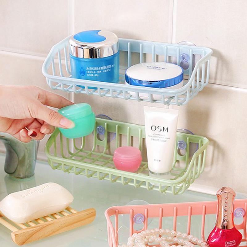 Quality Strong Suction Sucker Cup Holder Storage Basket Box Shelves Organizer Bathroom Kitchen Drain Sink Sponge Holder Color 40