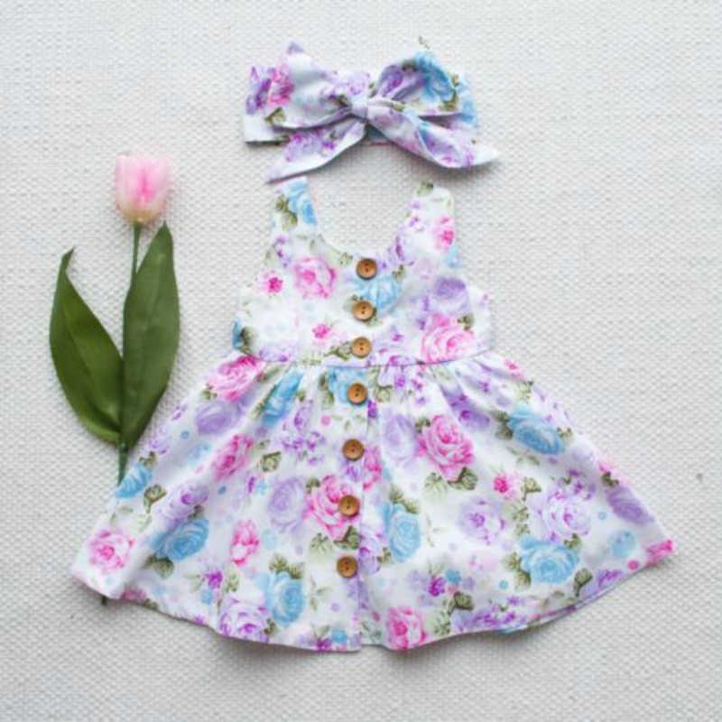 Botão de Impressão Floral Meninas Vestido Sem Mangas Crianças Da Menina Do Bebê Partido Tulle Vestido de Princesa Rendas Tutu Crianças Vestidos de Aniversário Para Meninas