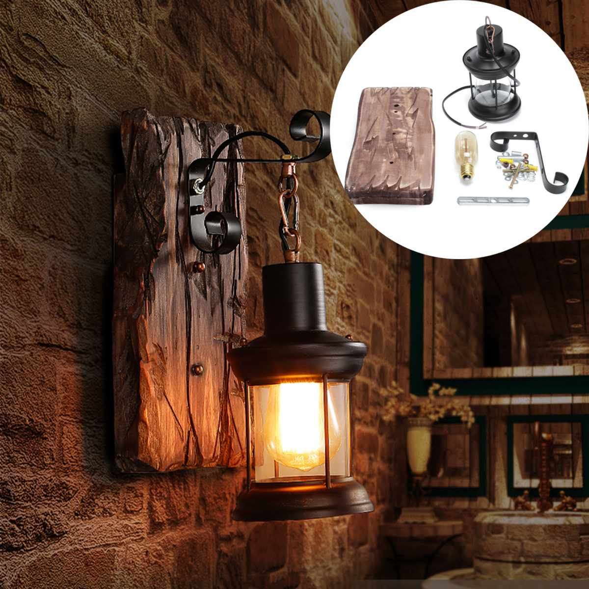 Vintage Industrial Retro Wood Metal Sconce Cafe Bar Wall Lamp Fixture Light Home Decor (bulbs is not included)