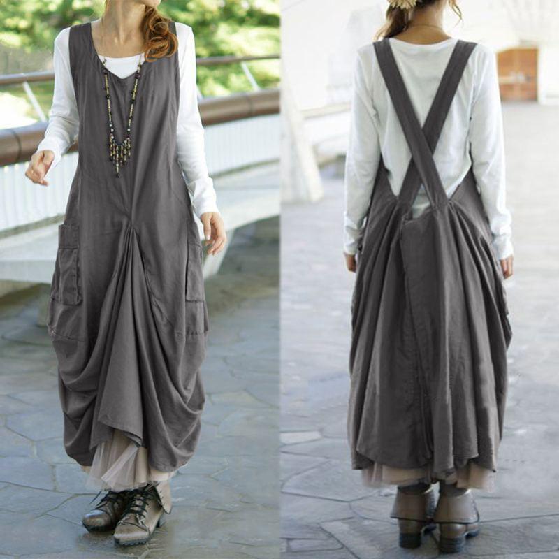 Mais tamanho do vintage vestido plissado zanzea feminino decote em v sem mangas midi vestidos kaftan casual suspender vestidos