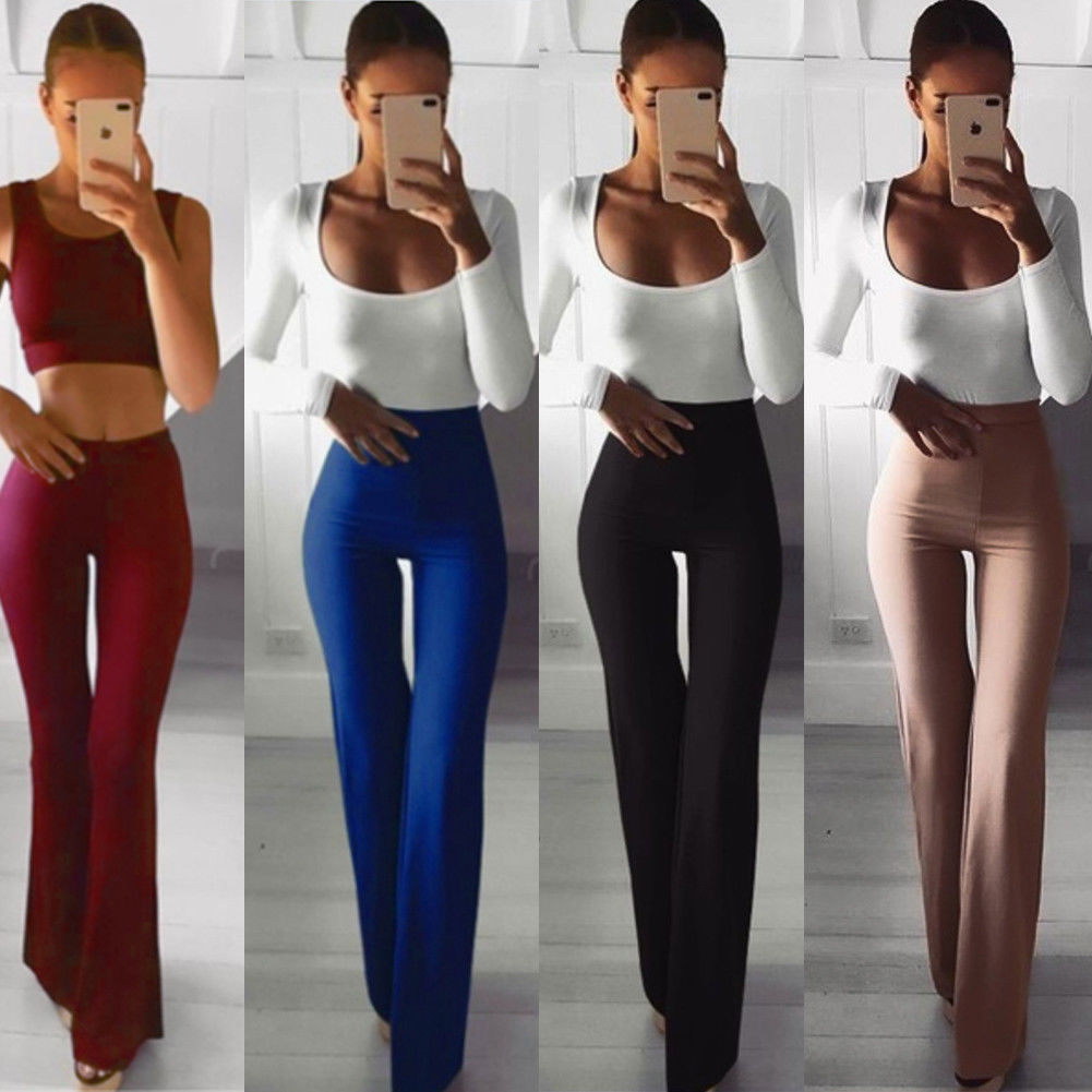 New Women Ladies High Waist Slim Flared Long Pants Fashion Bell Bottom Solid Long Pant Trousers