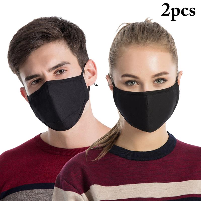 2pcs Anti Dust Breathable Mouth Mask Activated Carbon Filter Mouth-Muffle Mask Anti PM2.5 Fabric Face Mask Neutral