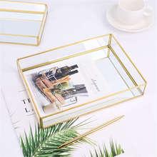 Нордический Ретро лоток для хранения золотого прямоугольного стекла органайзер для макияжа лоток десертная тарелка ювелирный дисплей кухонное украшение для дома