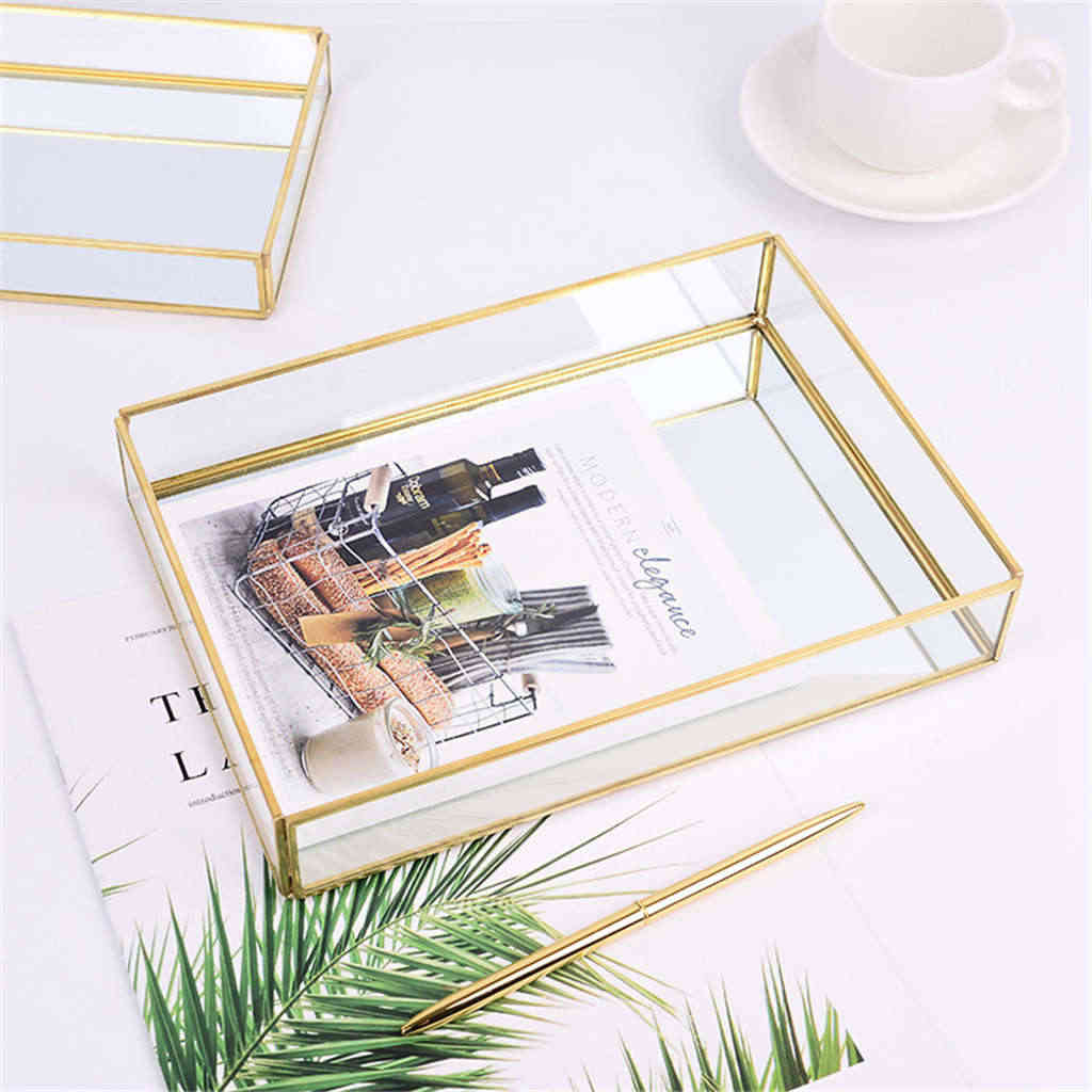 Nordic Retro Lagerung Tablett Gold Rechteck Glas Make-Up Organizer Fach Dessert Platte Schmuck Display Home Küche Decor