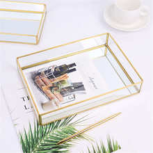 Nordic Retro Storage Tray Gold Rectangle Glass Makeup Organizer Tray Dessert Plate Jewelry Display Home Kitchen Decor(China)