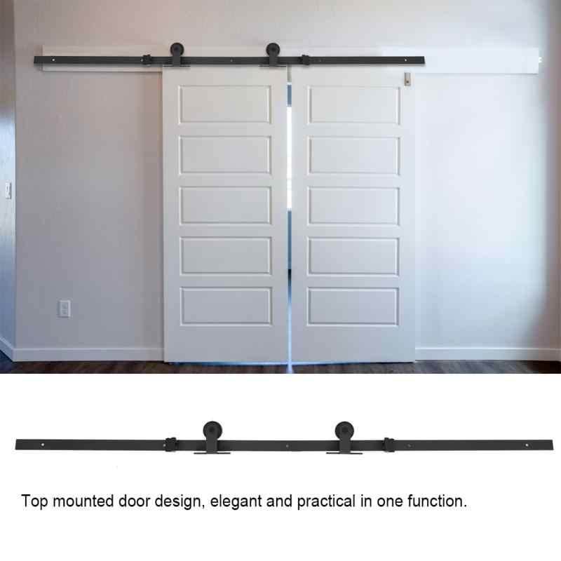 6.6ft верхняя раздвижная обшивочная дверь черная деревянная дверная фурнитура набор легко установить деревянные двери комплекты для измерений набор