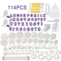 114 Piece Cake Tool Smoother Set Fondant Cake Tool Sugar Flower Shape Letters Cookies Cut Form Snowflake Roses Quality Kitchen