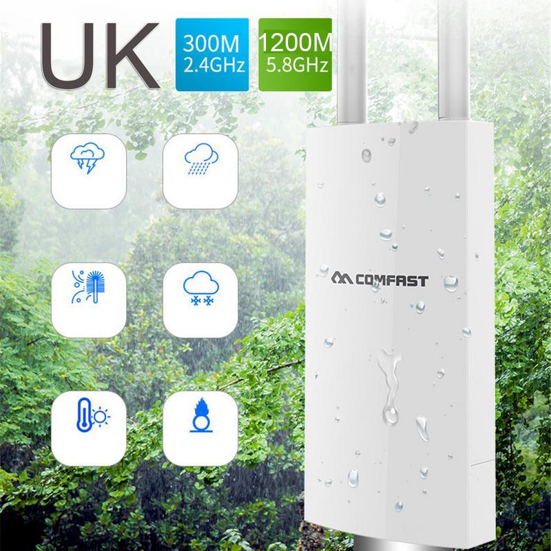 UK 300 M/1200 M couverture WIFI double fréquence extérieure AP Station de Base extérieure grand Gigabit WIFI couverture omnidirectionnelle AP routeur