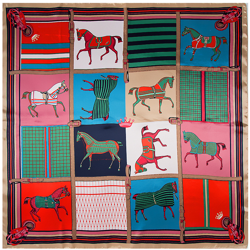 Hot Sale 90*90cm Purple Horses   Scarf   Women Head Hijab Luxury Brand Bandana Foulard Square   Scarves   Animal Print Shawl&  Wraps
