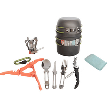 Outdoor Camping Tableware Kit Pot Pan Set Ultralight Portable Hiking Picnic Backpack Bowl with Mini Gas Stove Hot