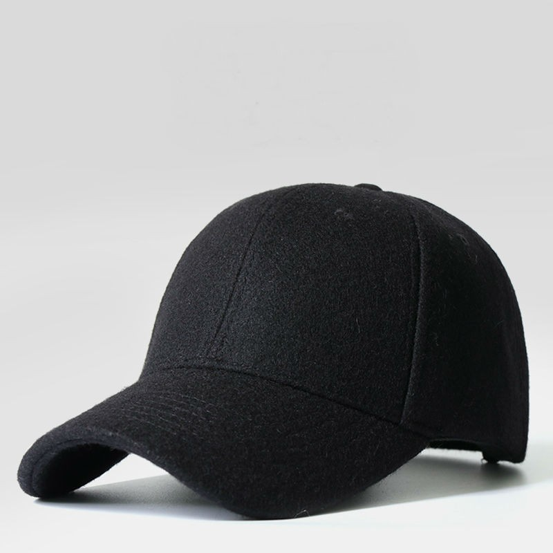 Warm Peaked Baseball Cap Winter Hat For Men Wool Stitching Leather StandardHat