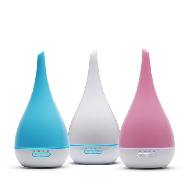 Diffuseur dhuile essentielle et darôme et humidificateur dair de 400ml, brumisateur ultrasonique, 7 couleurs, en forme de Vase, LED ml