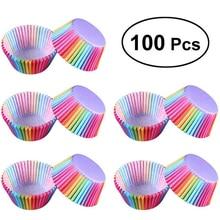 100 pçs caixa de papel colorido bolo cupcake forro caso do queque de cozimento copo decoração de aniversário do casamento para o miúdo utensílios de mesa festa suprimentos