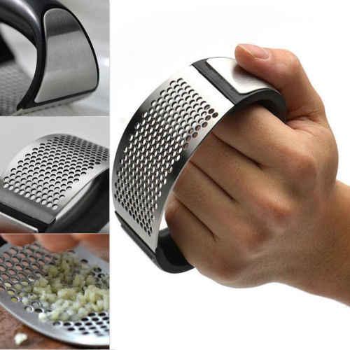 Stainless Steel Manual Garlic Press Crusher Squeezer Masher Kitchen Tool HOT