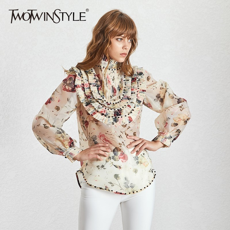 TWOTWINSTYLE Beading Patchwork Shirts For Women Stand Collar Long Sleeve Patchwork Pleated Shirt Top Female Spring
