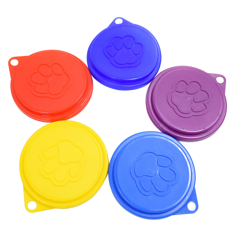 2 Pcs Reusable Pet Dog Can Tin Food Covers With Print Fresh Pet Cans Plastic Lid Caps-Random Color