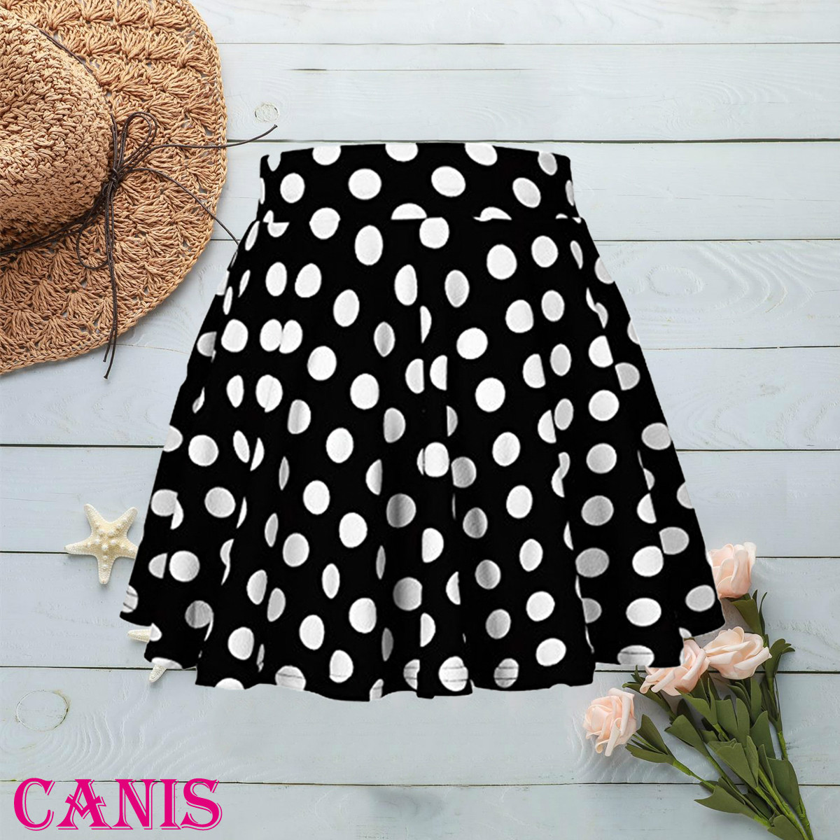 Women Ladies Sexy Fashion High Waist Casual Mini Skirt Girl Polyester Short Dress Polka Dot Retro Elastic Waist 2019 New