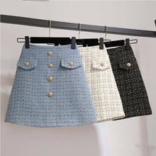 High Waist Bodycon Sexy Plaid Mini Skirt Women Button Front A Line Zipper Back Tweed Office Skirt