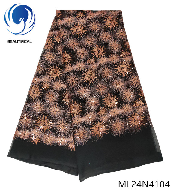 BEAUTIFICAL french mesh tulle fabric african sequins lace fabrics french tulle 5 yards fabric for women ML24N41