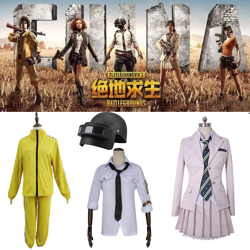 PUBG Cosplay Costume Playerunknown's Battlegrounds White Skirt Long sleeve Shirt tie yellow clothe group sports Top + pants suit