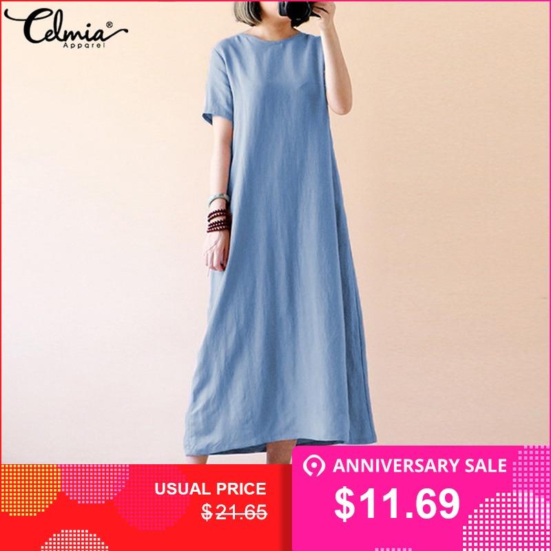 5c8ef77671 Celmia 2019 Summer Boho Maxi Dress Women Causal Short Sleeve Loose Solid  Vintage Cotton Dresses Long
