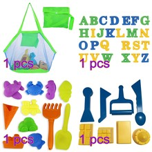 Sand Shovel Beach Sand Toy Set Letters Sand Castle Animal Ice Cream Mold Tool Children Toys Get Mesh Beach Bag- Color Random(China)