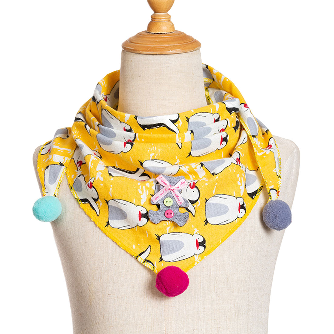 New Children  Scarf Ball Cotton Triangular Autumn Winter Girls Shawl Baby