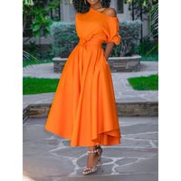 Women Midi Dress 2019 Summer Orange Dinner Party Club Travel Female Robe African One Shoulder Dress Big Swing Elegant Day Dress