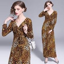 Women Dress Autumn 2019 Ladies Leopard Print Dresses Sexy V Neck Long Sleeve Midi Womens Fall Evening Party