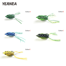 цена Yernea 1pcs 5 Colors Fishing Lures Soft Tube Bait Plastic Frog Lure Treble Hooks Topwater Ray Frog 5.5cm  Artificial Soft Bait онлайн в 2017 году