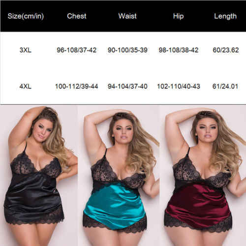 2019 Sexy Kant Lingerie Vrouwen Grote Size Nachthemd Kant Diepe V Sexy Satin Silk Lingerie Nachtkleding Ondergoed Maat 3XL 4XL