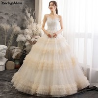 e82d5a22a6 Elegant Bling Bling Champagne Wedding Dress 2019 Vestido De Noiva Ball Gown  Lace Spaghetti Strap Wedding
