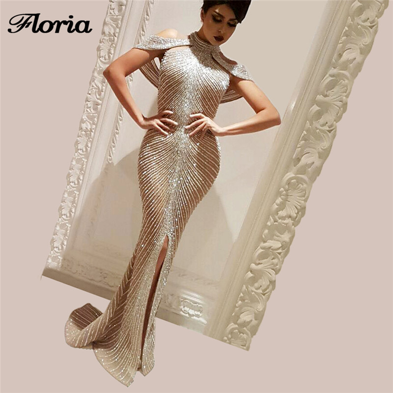 2019 Saudi Rhinestone   Evening     Dress   Aibye Islamic Sexy Pageant Gowns Abendkleider Arabic Dubai Long Prom   Dress   Robe de soiree