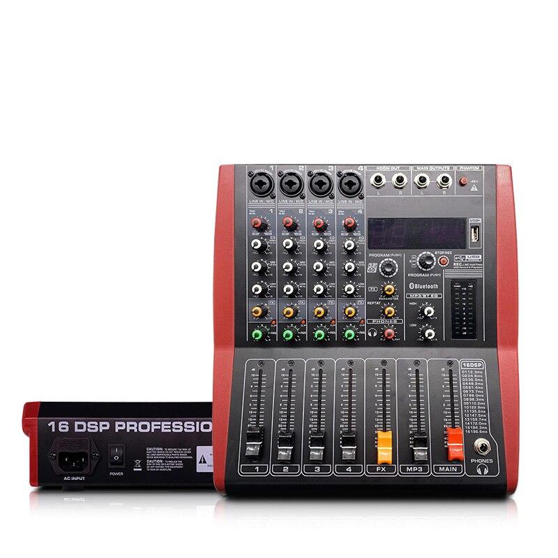 LEORY Professional USB Bluetooth mezclador 4 canales DJ consola mezclador controlador Karaoke 48V amplificador PARA Karaoke KTV partido