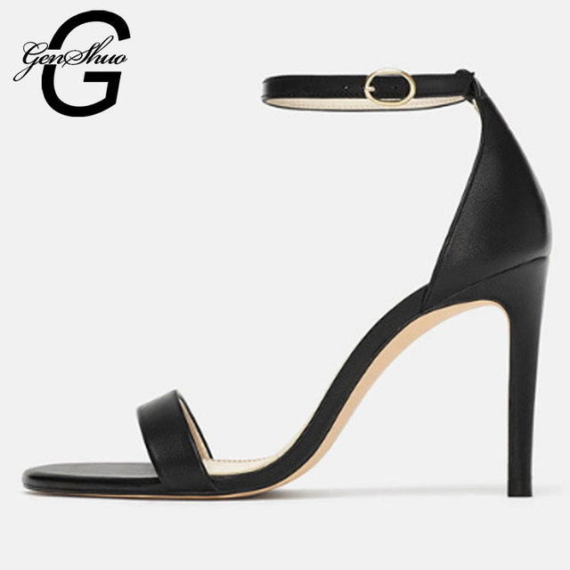GENSHUO Classics Sexy Women Solid Black Heels Party Shoes Peep Toe Stiletto High Heels Shoes Woman Sandals Summer Shoes Woman