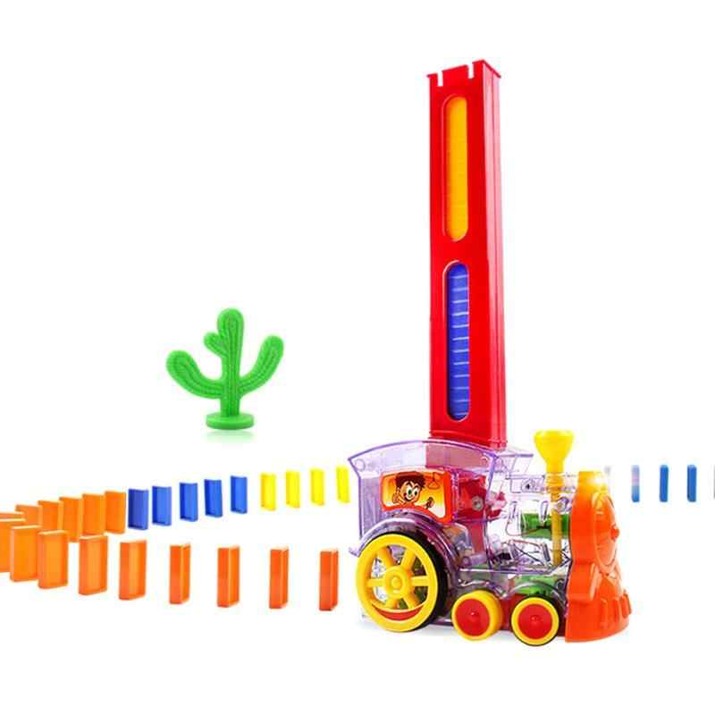 Domino Train Car Model Toys Sound Light Automatic Sets Up Domino Building Blocks Game Toys Gift Building & Construction Toys